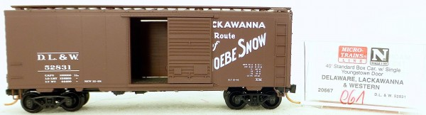 Micro Trains Line 20667 D.L. & W. 52831 40' Standard Boxcar 1:160 OVP #H061 å