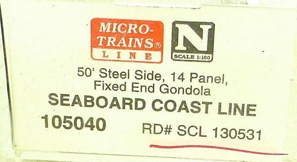 Micro Trains Line 105040 Seaboard 130531 50' Gondola Fixed End 1:160 OVP #F å*