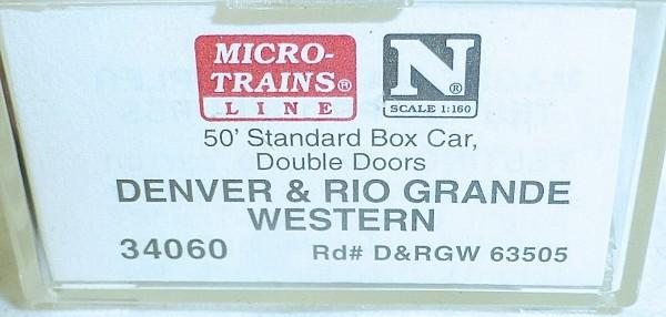 Micro-Trains Line 34060 Denver Rio Grande 50' Standard Box Car N 1:160 A å *
