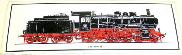 Aufkleber Dampflok BR 38 DB Deutsche Bundesbahn ca 24x8 cm å *