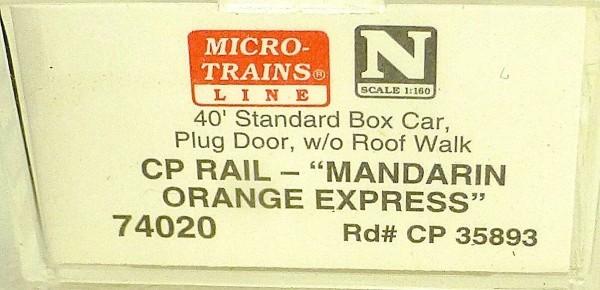 Micro Trains Line 74020 CP Rail Mandarin Orange Exp 40´ Box Car 1:160 OVP #E å *