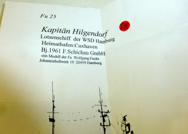 Kapitän Hilgendorf Lotsenschiff WSD Hamburg Fu25 Schiffsmodell 1:1250 SHPI39 å *
