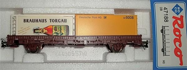 Brauhaus Torgau Deutsche Post AG Container Rungenwagen DB Roco 47188 H0 HU1 µ *
