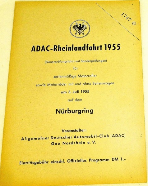 3. Juli 1955 ADAC Rheinlandfahrt Motorräder Nürburgring PROGRAMMHEFT VII10 å *
