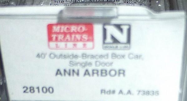 40´ Outside Braced Boxcar ANN ARBOR 73835 Micro Trains Line 28100 N 1:160 C å*