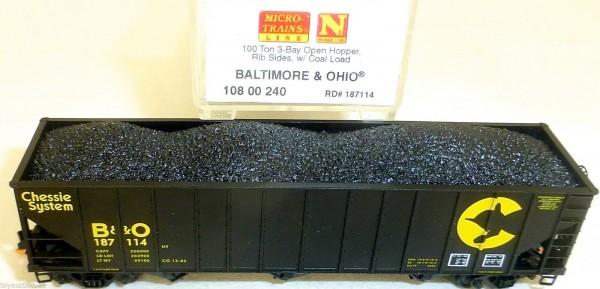 Baltimore Ohio 100 Ton 3 Bay open Hopper Rib MTL 108 00 240 N 1:160 OVP HU3 å *