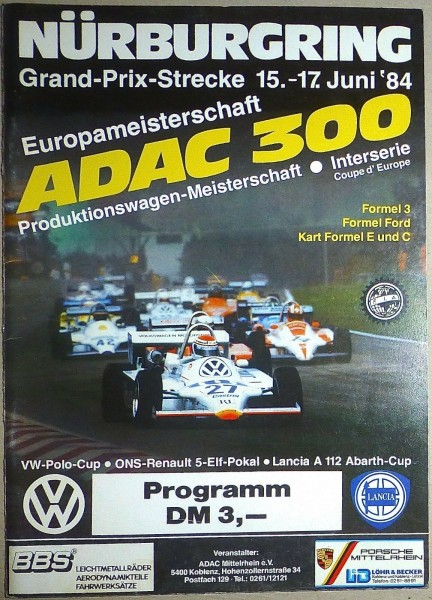15. - 17. Juni 84 ADAC 300 Produktionswagen Nürburgring PROGRAMMHEFT II03 å *