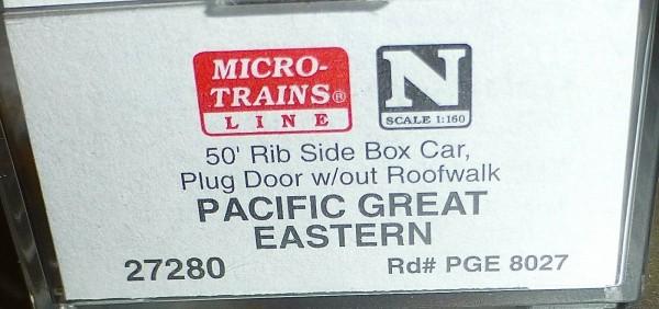50´ Rib Side Boxcar PACIFIC GREAT EASTERN Micro Trains Line 27280 1:160 N C å*