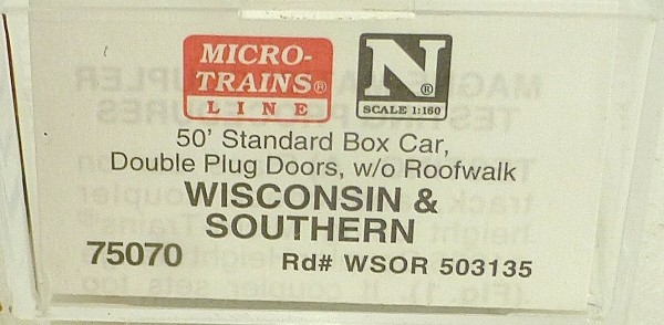 Micro Trains Line 75070 Wisconsin Southern 50´ Box Car 1:160 OVP #E å*