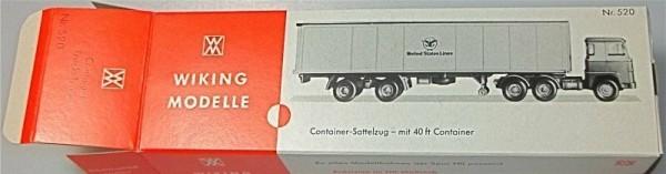 United States Lines Sattelzug mit 40 ft Container Karton leer Wiking 520 å *