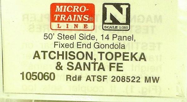 Micro Trains Line 105060 ATSF 208522 MW 50' Gondola Fixed End 1:160 OVP #F å*