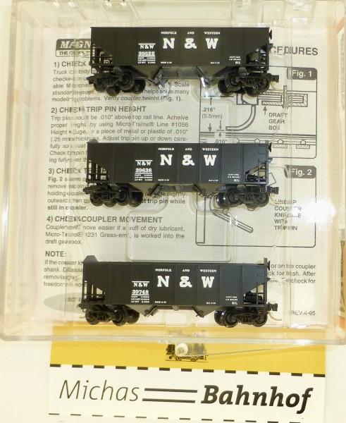 3-tlg Micro Trains 91012 Norfolk Western 33' Twin Bay Hopper OVP 1:160 #Z6 å