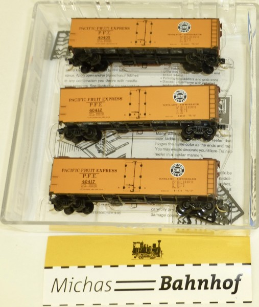 3-tlg Micro Trains 59012 Pacific Fruit Express 40' Steel Side Ice Reefer OVP 1:160 #Z7 å