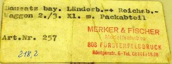 Merker & Fischer 257 Bay Länder- Reichsb. 2/3 Kl Packabteil BAUSATZ 1:87 å *