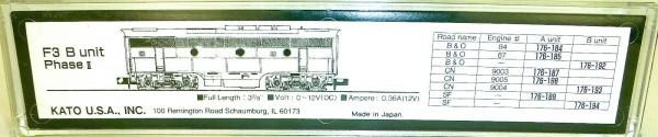 KATO 176-193 F3 B unit Phase II CN 9004 OVP N 1:160 HS5 å *