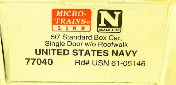 Micro Trains Line 77040 United States Navy 61-05146 50´ Box Car 1:160 OVP #E å *