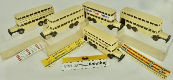 5 Berlin Doppeldecker Bus D38 ATA Persil Sarotti Continental H0 1:87 WIKING GD4å