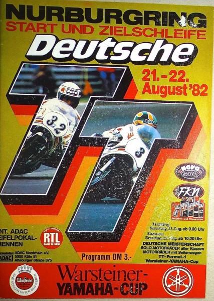 21. - 22. August 82 Deutsche TT Nürburgring PROGRAMMHEFT å II06 *