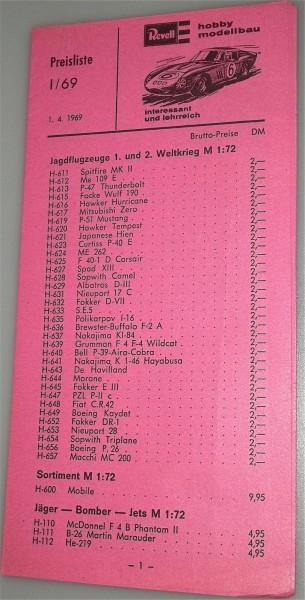 Revell Preisliste 1/69 1.4.1969 å