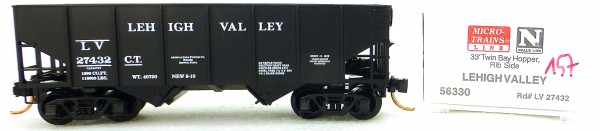 Micro Trains Line 56330 Lehigh Valley 27432 33' Twin Bay Hopper 1:160 OVP #i157 å