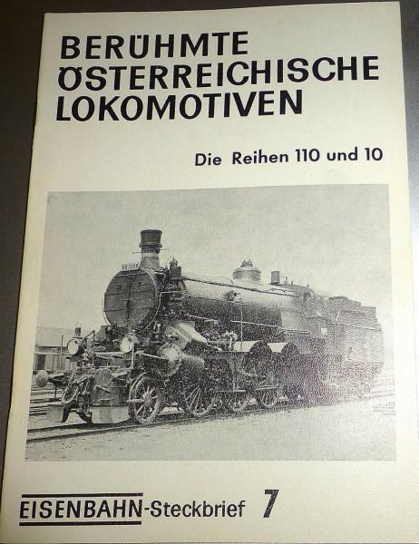 Eisenbahn Steckbrief 7 Berühmte Österreichische Lokomotiven Rh 110 10 HJ3 å *