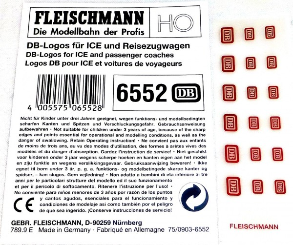 DB Logos für Reisezugwagen ICE etc Fleischmann 6552 H0 Neu µ *