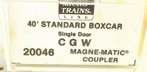 40´ Standard Boxcar Single Door CGW 5453 Micro Trains Line 20046 N 1:160 D å *