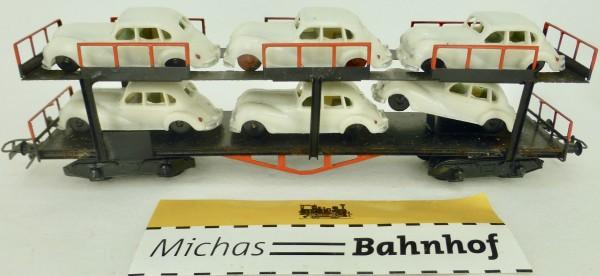 Autotransporter mit 6 EMW in weiß beladen Doppelstock H0 1:87 å *