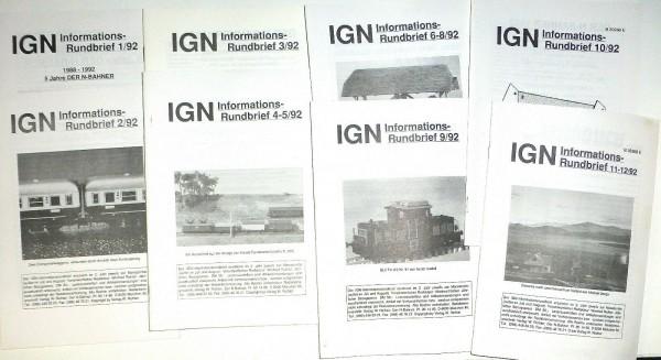 IGN Informations - Rundbrief 1-12 1992 kompletter Jahrgang (8 Hefte) å *
