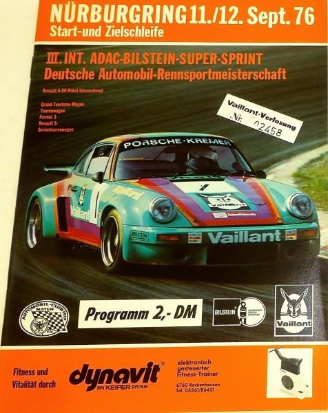11./12. Sept.76 ADAC Bilstein Super Sprint Nürburgring PROGRAMMHEFT å III04 å