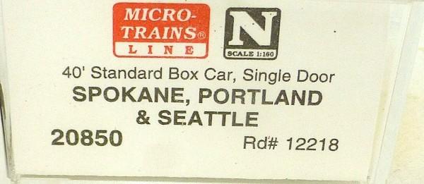 40´ St Boxcar Spokane Portland & S 12218 Micro Trains Line 20850 N 1:160 D å *