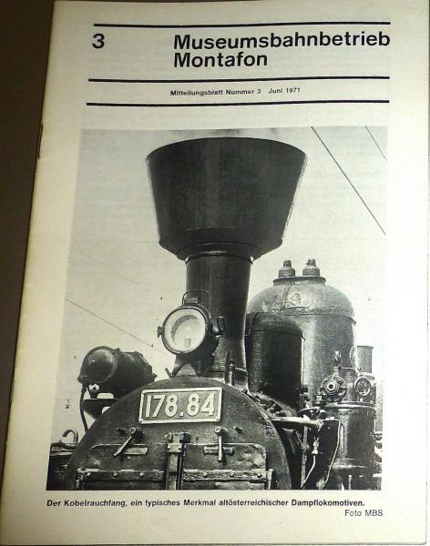 Museumsbahnbetrieb Montanfon Mitteilungsblatt 3 Juni 1971 HJ3 å *