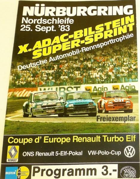 25. Sept. 83 X. ADAC Bilstein Super Sprint ONS Nürburgring PROGRAMMHEFT IX02 å*