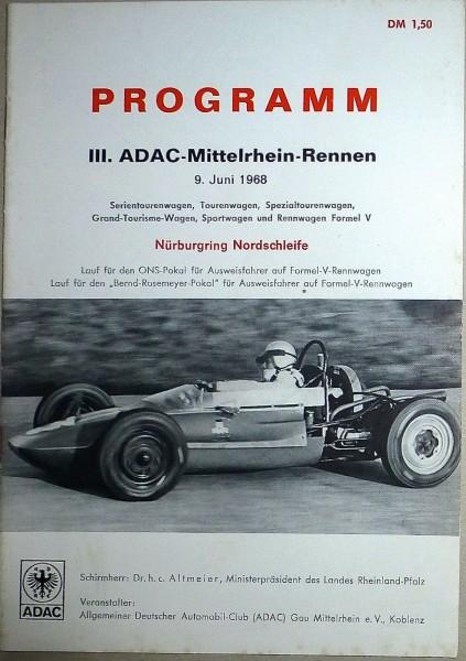 9. Juni 1968 III. ADAC Mittelrhein Rennen Nürburgring PROGRAMMHEFT å IV08 *