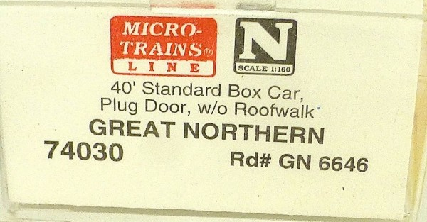 Micro Trains Line 74030 Great Northern GN6646 40´ Box Car 1:160 OVP #E å *