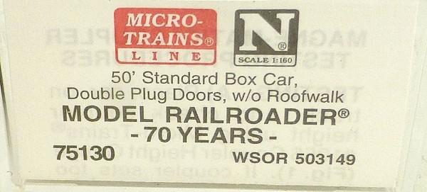 Micro Trains Line 75130 70 Years Model Railroader 50´ Box Car 1:160 OVP #E å *