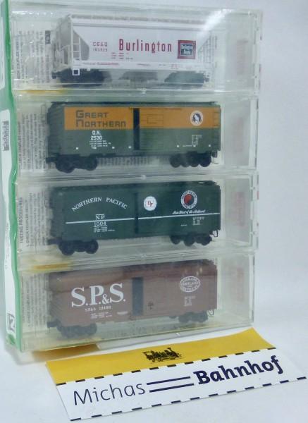 4x Fallen Flags SP&S GN NP CB&Q Micro Trains Line 20226-2 N 1:160 HS5 å