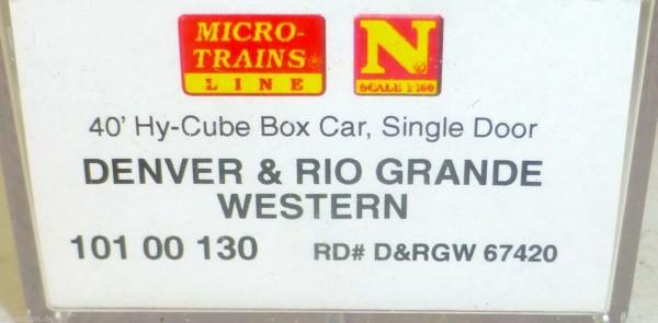 D&RGW 40 Hy Cube Box Car Single Micro Trains 101 00 130 N 1:160 HU3 å