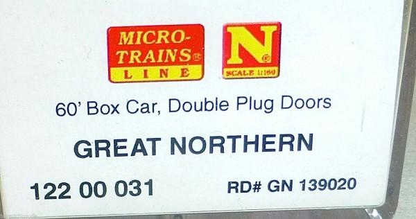 Great Northern 60 Box Car Double Doors Micro Trains 122 00 031 N 1:160 HS3 å