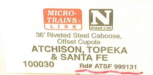 Micro Trains Line 100030 Santa Fe 999131 36' Riveted Steel Caboose 1:160 #F å*