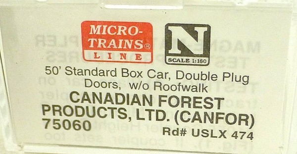Micro Trains Line 75060 Canadian Forest USLX 474 50´ Box Car 1:160 OVP #E å *
