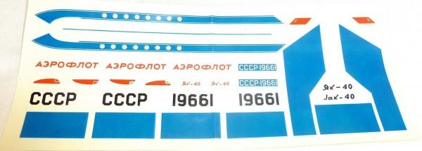 Jak-40 CCCP 19661 Aeroflot VEB Plasticart 040270 Nassschieber VEB # HN5 å