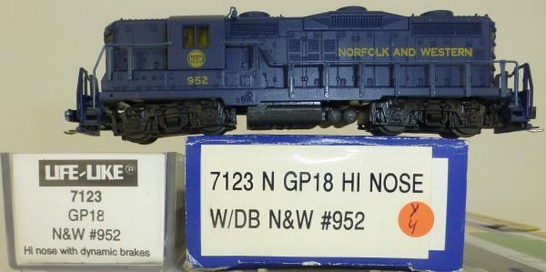 Life Like 7123 Norfolk Western 952 GP18 Hi Nose Diesellok N 1:160 OVP Y4 å *