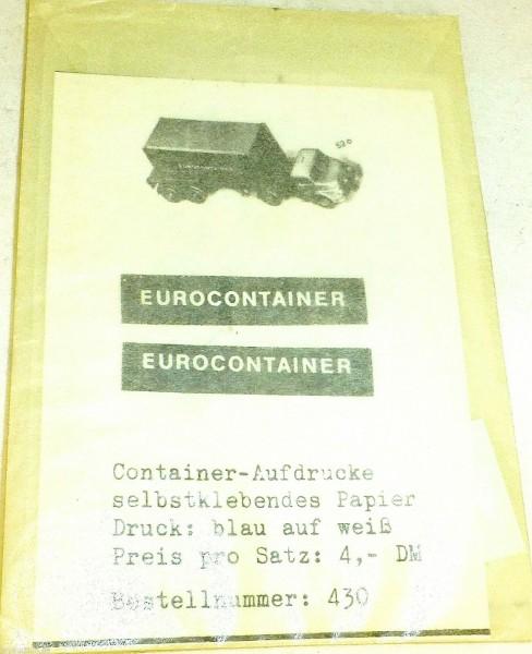 EUROCONTAINER Aufdrucke SMO 430 Aufkleber für WIKING å *