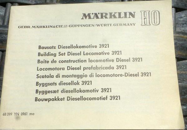 Anleitung Bausatz Diesellokomotive 3921 Märklin 68 399 YN 0961 ma H0 1:87 å