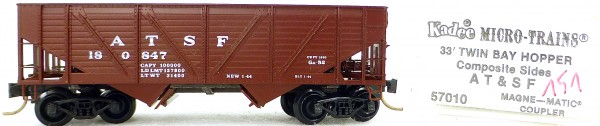 Micro Trains Line 57010 ATSF 180847 33' Twin Bay Hopper 1:160 OVP #i151 å