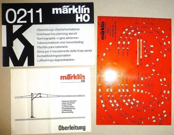 Oberleitung Zeichenschablone K + M Gleise H0 1:87 Märklin 0211 µ *