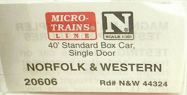40´ St Boxcar Norfolk & Western 44324 Micro Trains Line 20606 1:160 D å *