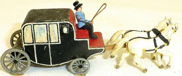 Geschlossene schwarze Kutsche mit Kutscher aus Holz Preiser 1:87 H0 GD1 PR66 å *