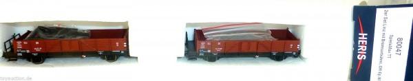 2tlg Set offene Güterwagen Linz Bremserbühne DR Ep3 HERIS 80047 TT 1:120 LC2 µ *